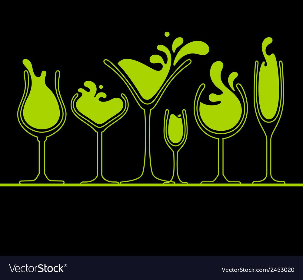 Set of splash wine glass vector