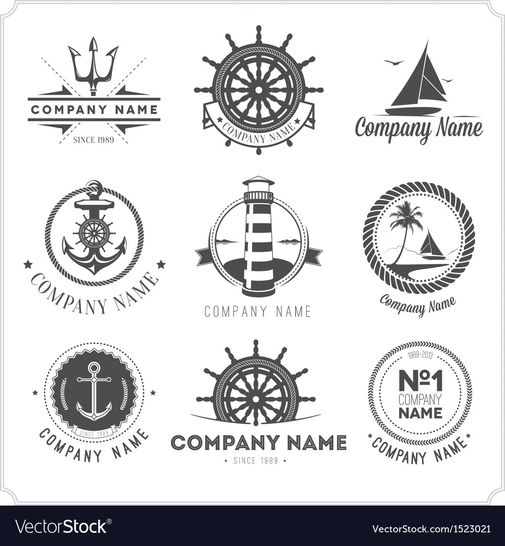Set of vintage nautical labels icons and design vector