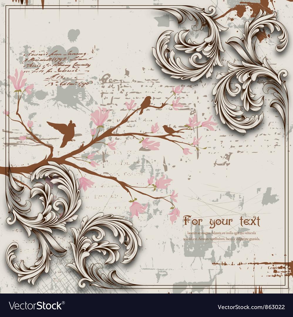 Engraved floral background vector