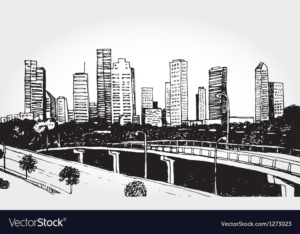 Sketch of a big city vector