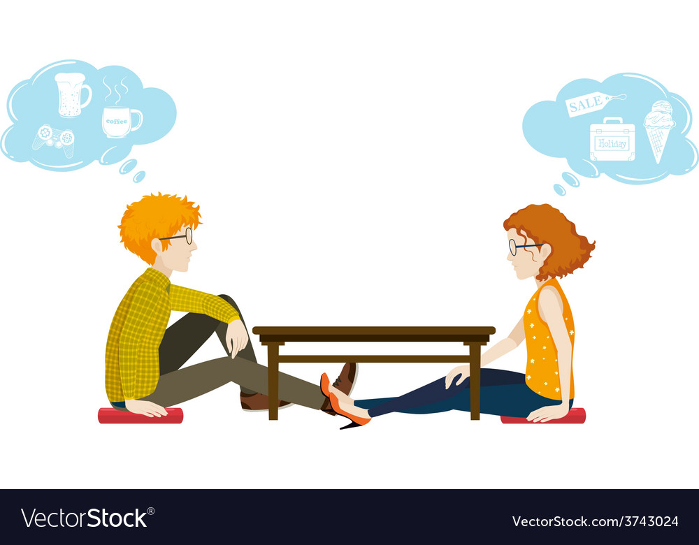 Two people with different thoughts vector