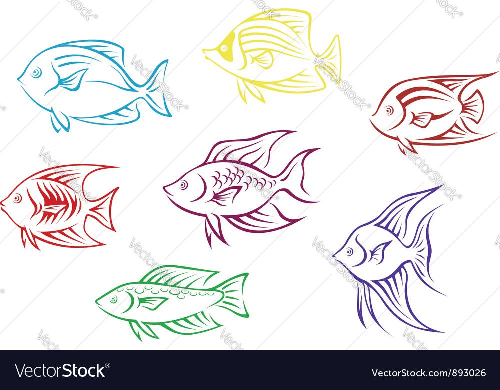 Set of seven aquarium fish silhouettes vector