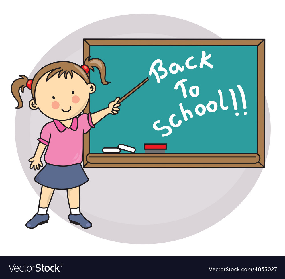 Girl writing on blackboard back to school vector
