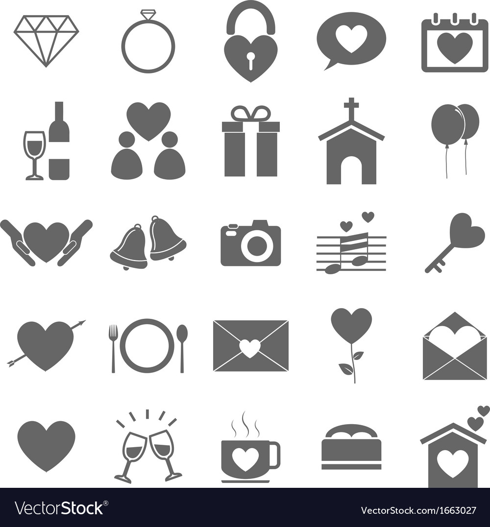 Wedding icons on white background vector