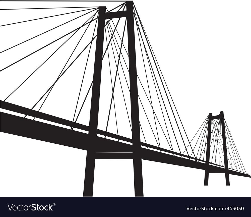 Cable suspension bridge vector