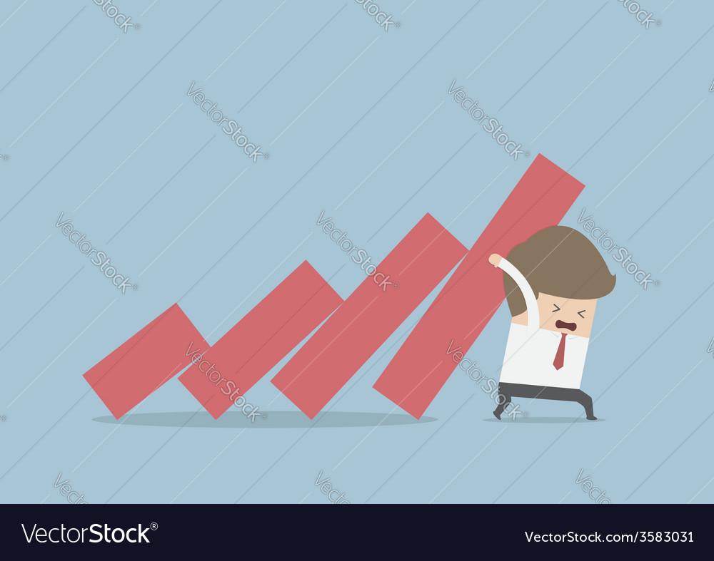 Businessman trying to stop falling graph vector