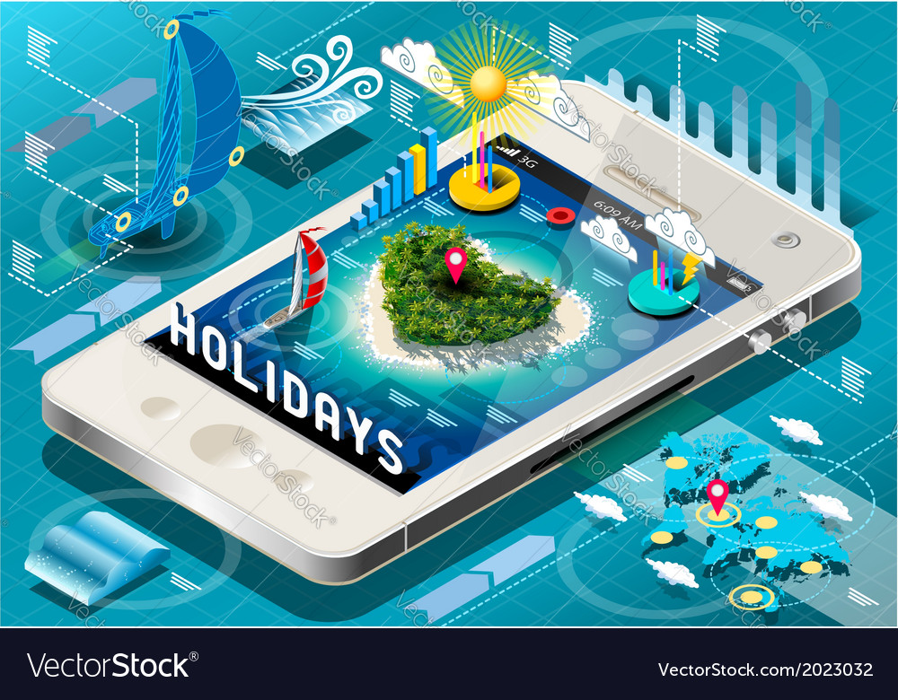 Isometric holidays infographic on mobile phone vector