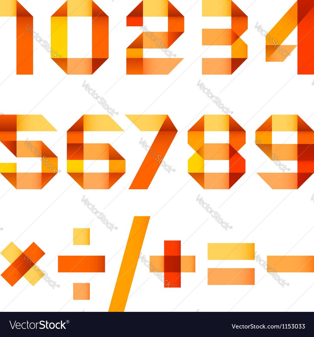 Spectral letters folded of paper orange ribbon - vector