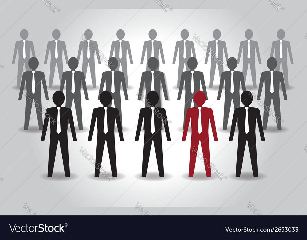 Unusual person in the crowd leadership vector
