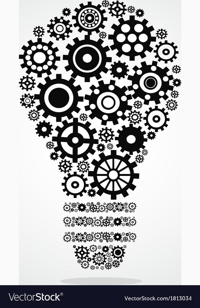 Black gear light bulb vector