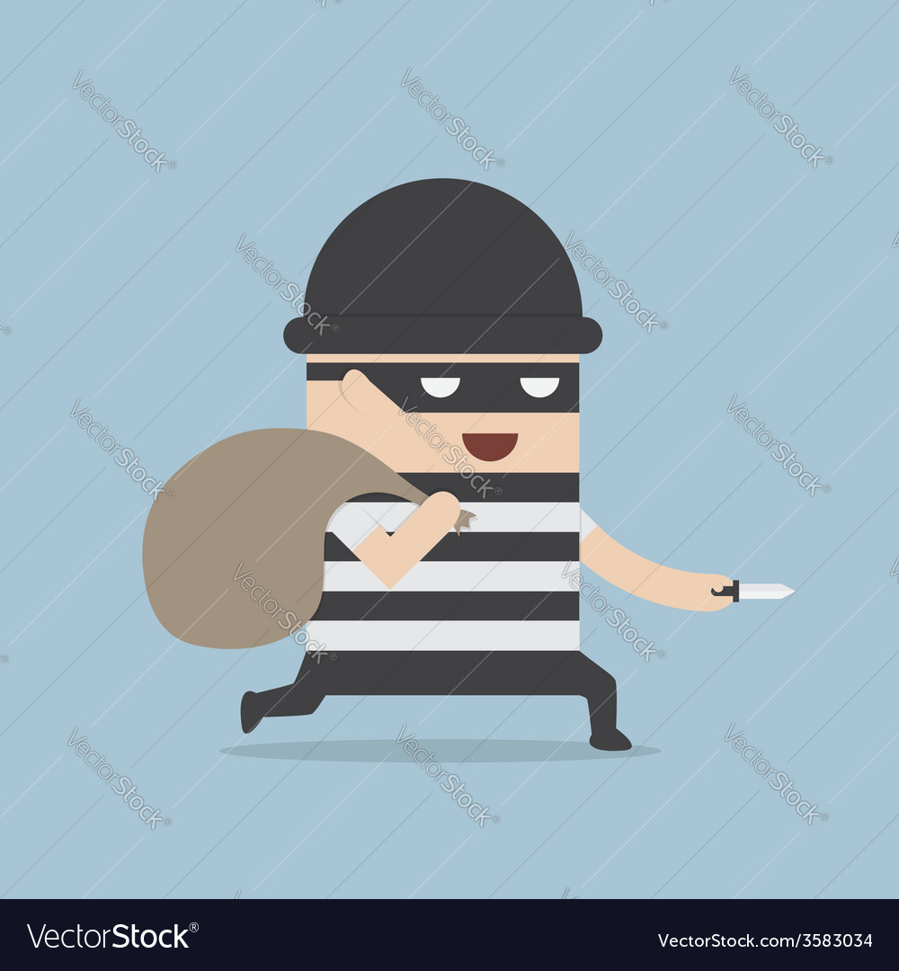 Thief cartoon holding knife in his hand and carryi vector