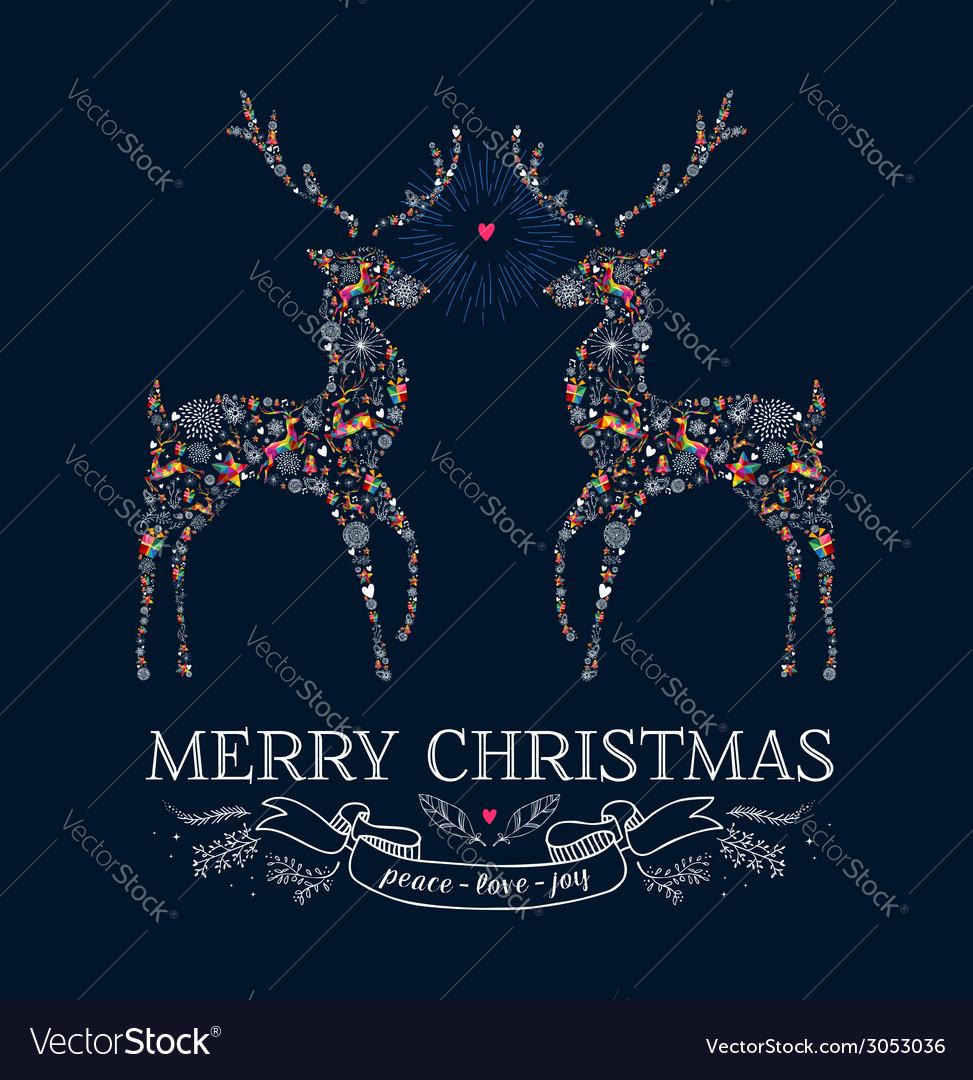 Christmas love reindeer vintage greeting card vector
