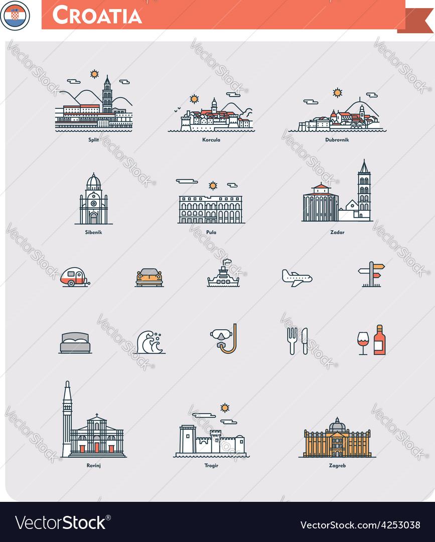 Croatia travel icon set vector