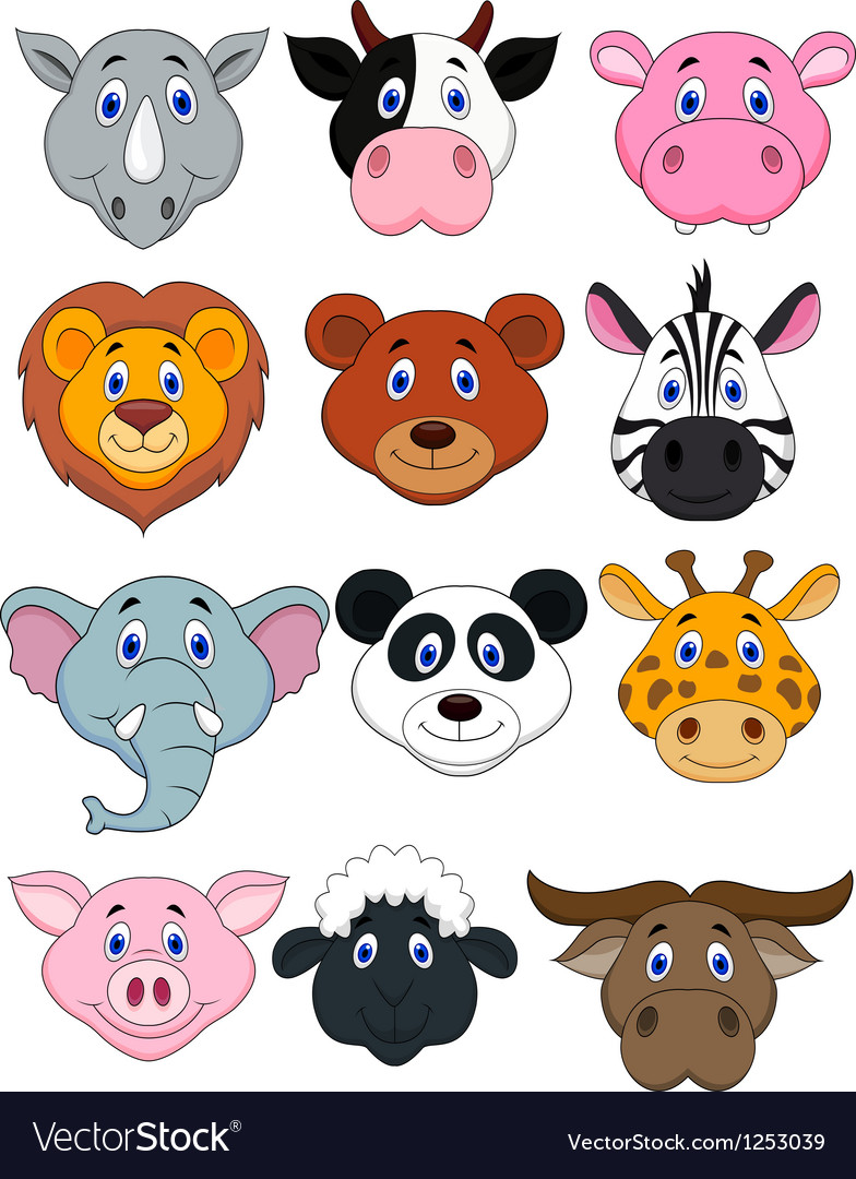 Cartoon animal head icon vector