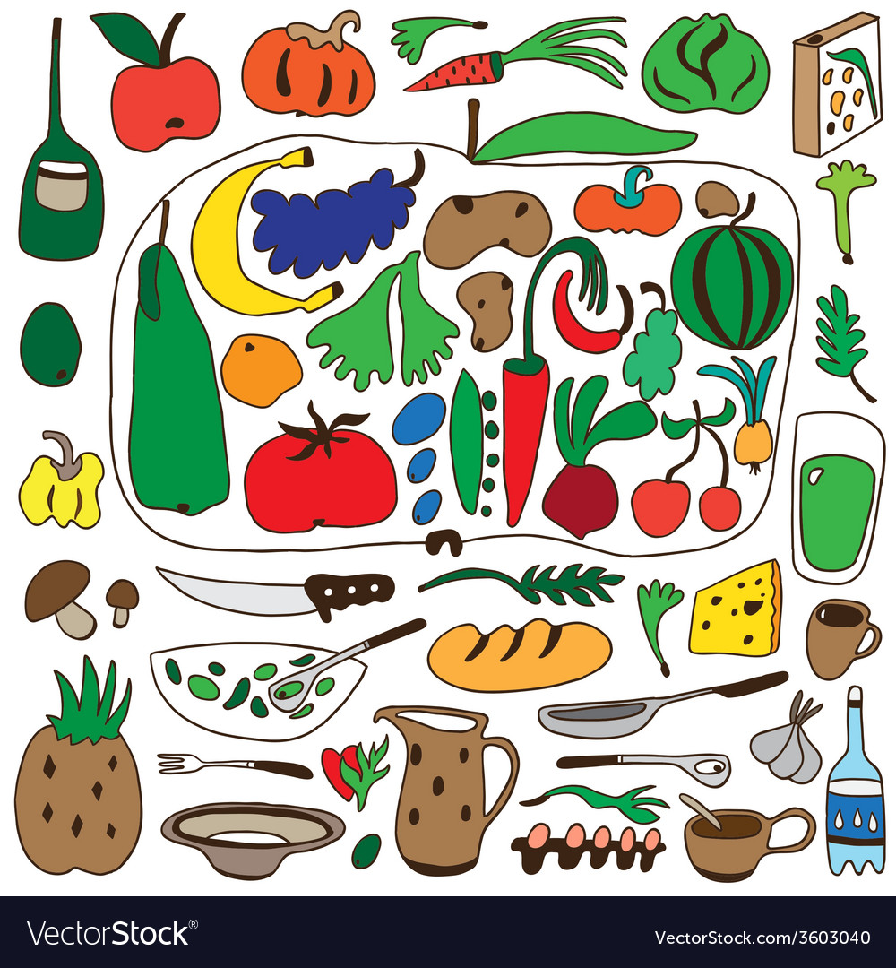 Fruits and vegetables  natural food - doodles set vector