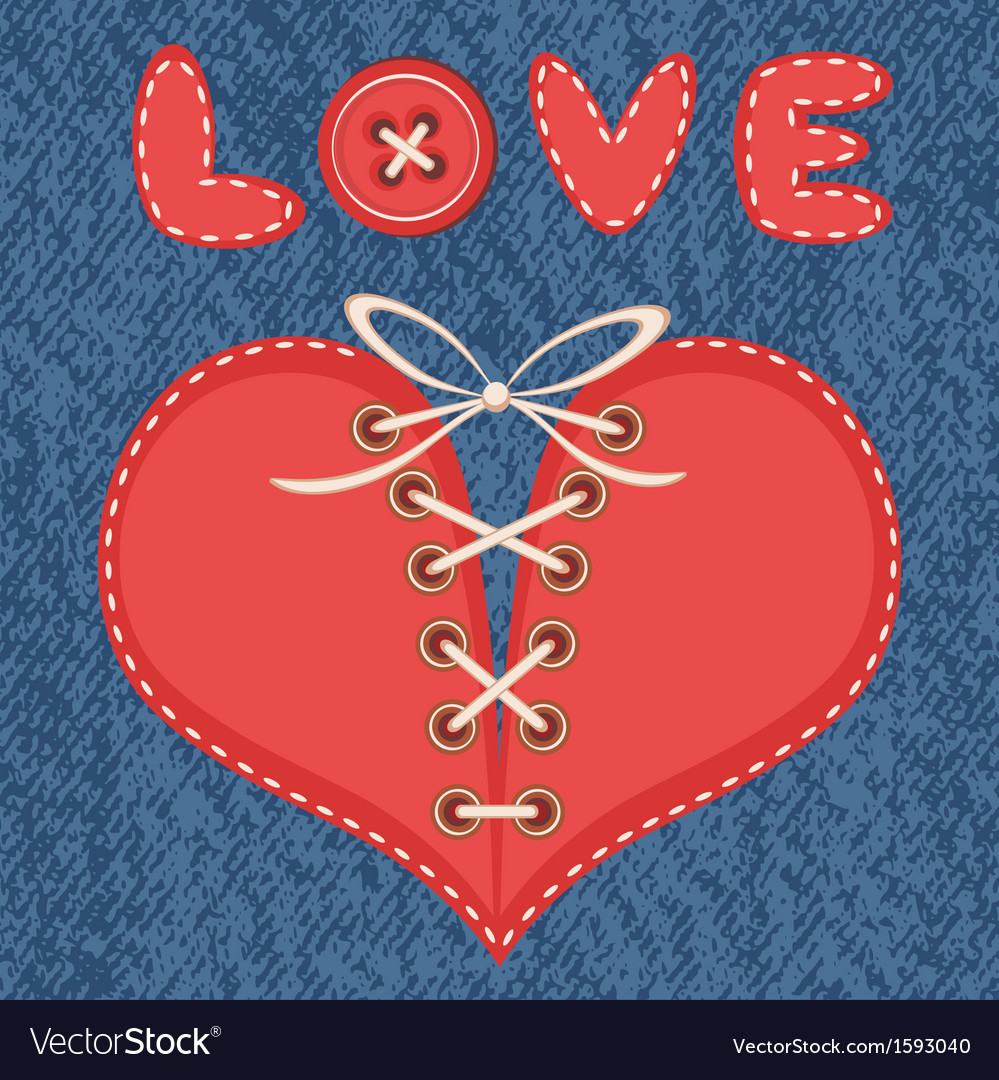 Love and heart with jeans background vector