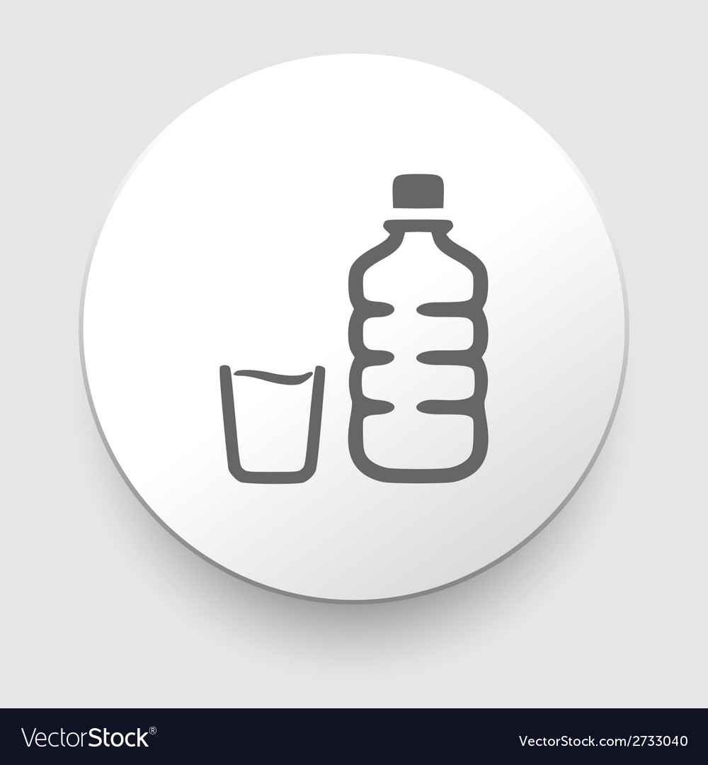 Plastic water bottle and glass vector