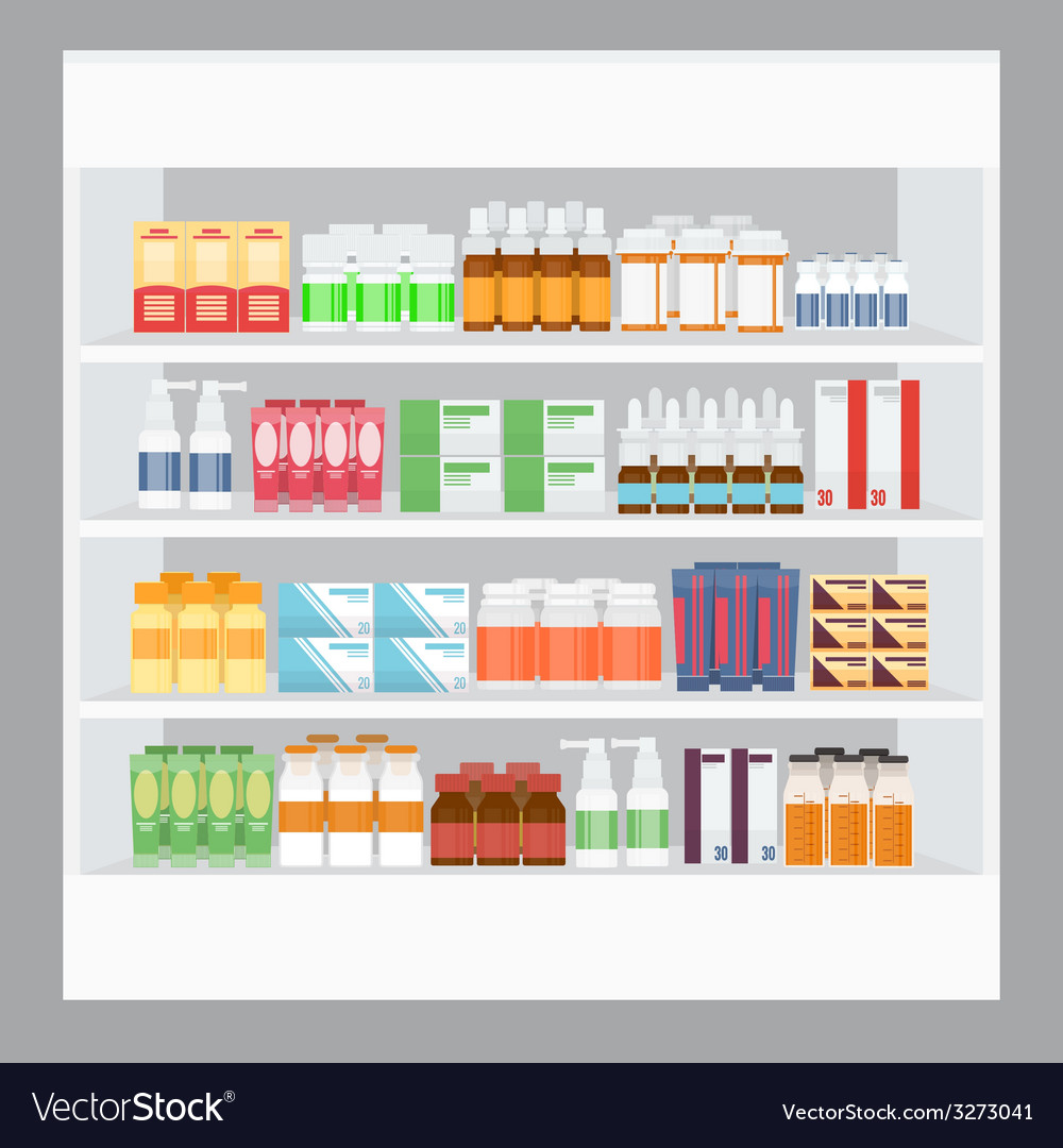 Cartoon medicine in pharmacy vector