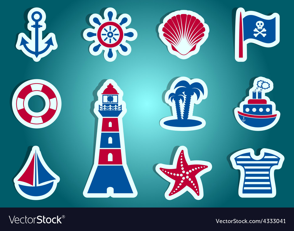Marine and pirate labels vector