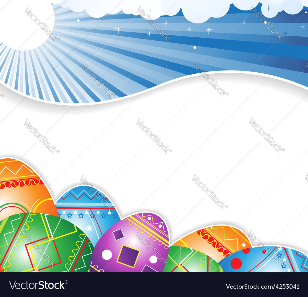 Sky and easter eggs vector