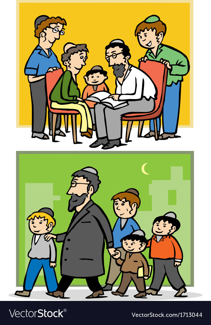 Jewish family father and his children vector