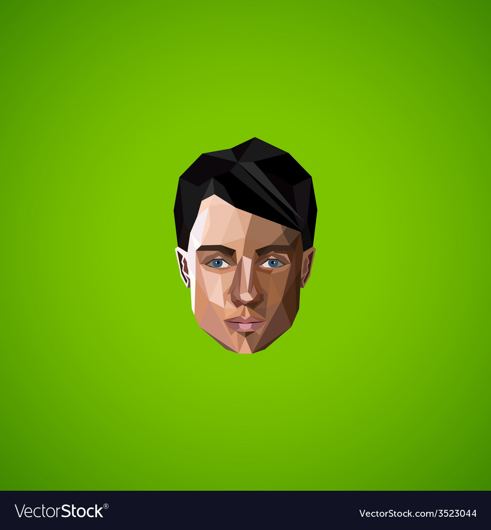 With caucasian man face in low-polygonal style vector