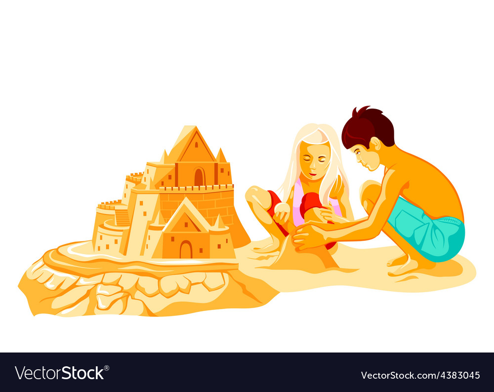 Building sand castle vector