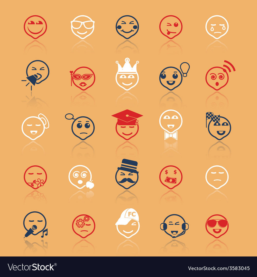 Face action line icons flat color with reflect vector