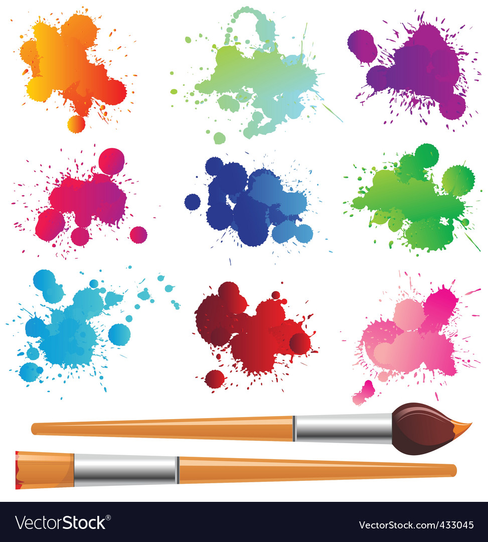 Paint splashes and brushes vector