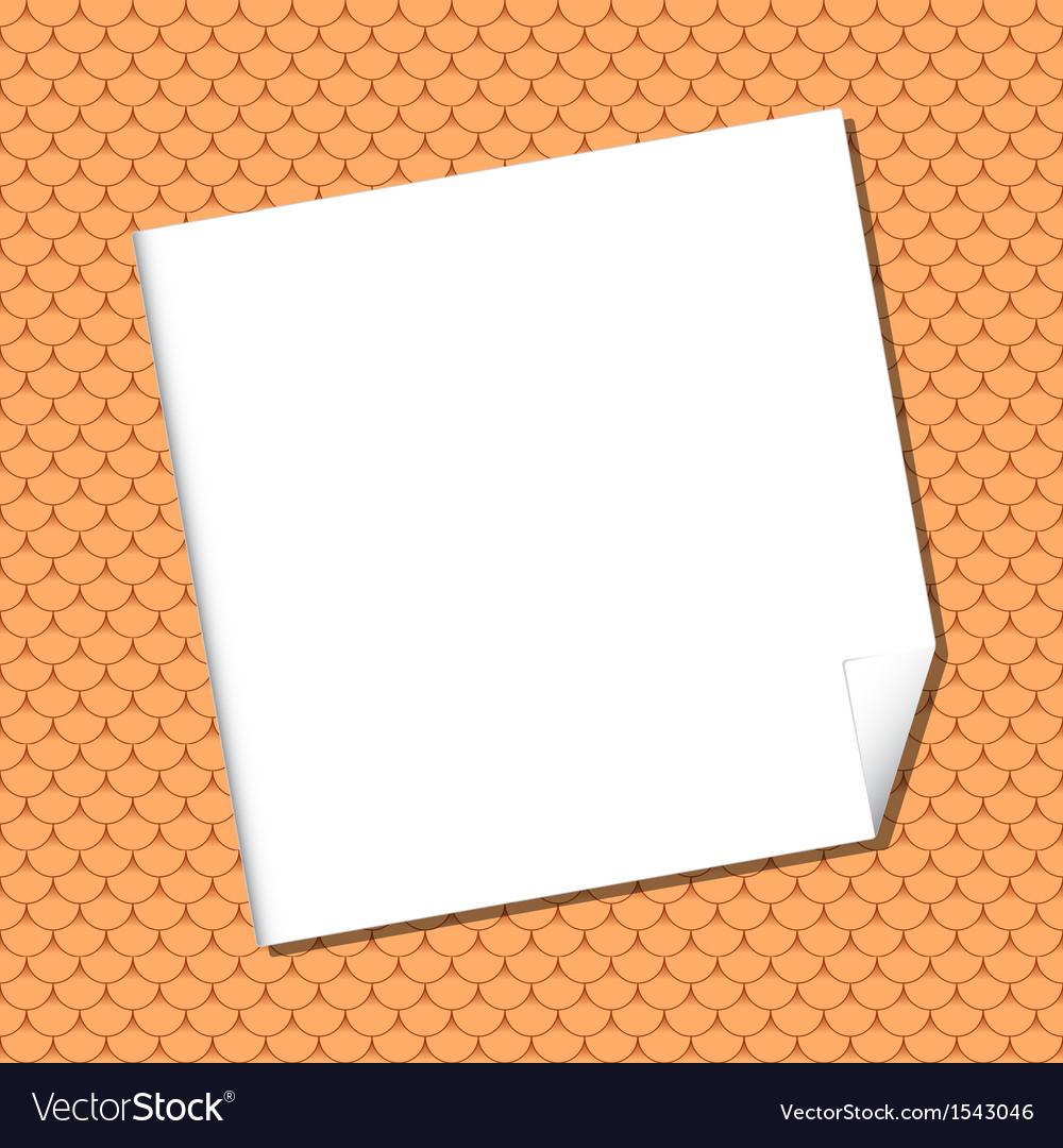 White sheet on seamless terracota roof tile vector