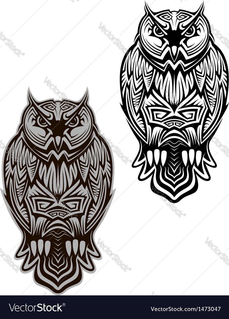 Owl bird tattoo vector