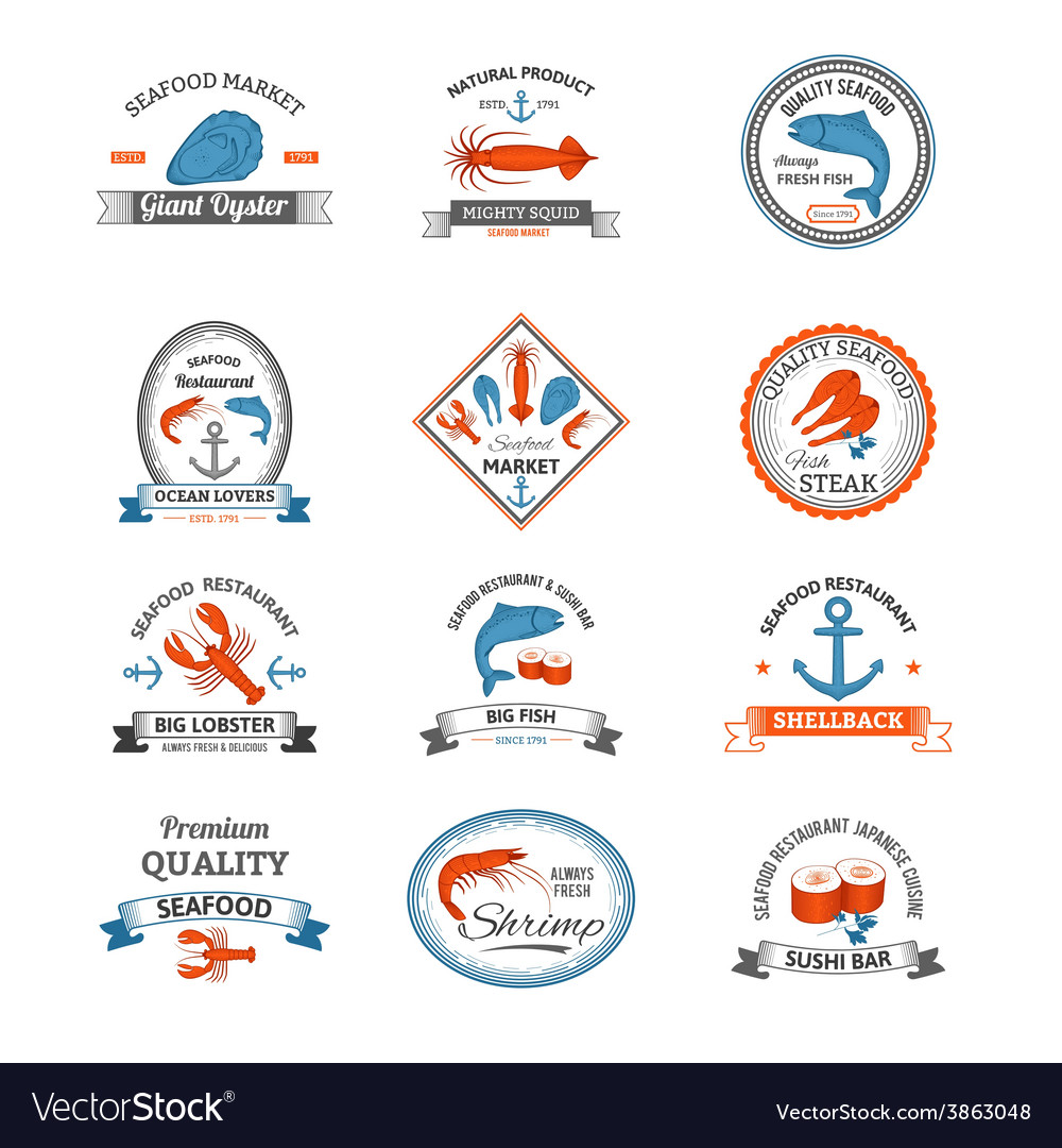 Seafood emblems colored vector