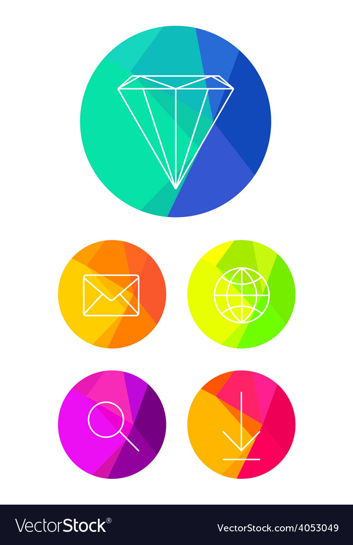 Flat icons on bright circle background vector