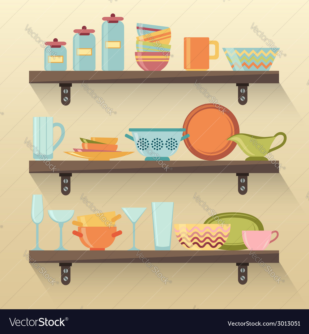 Kitchen shelves with colorful tableware vector