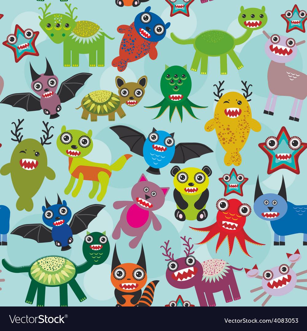 Cute cartoon monsters seamless pattern on blue vector