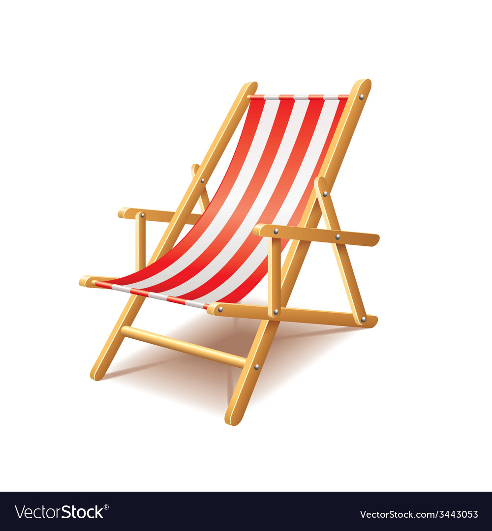 Deck chair isolated vector