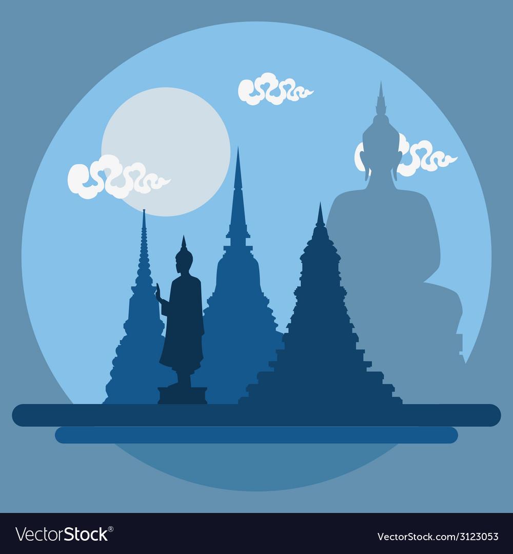 Flat design landscape of thailand temple vector