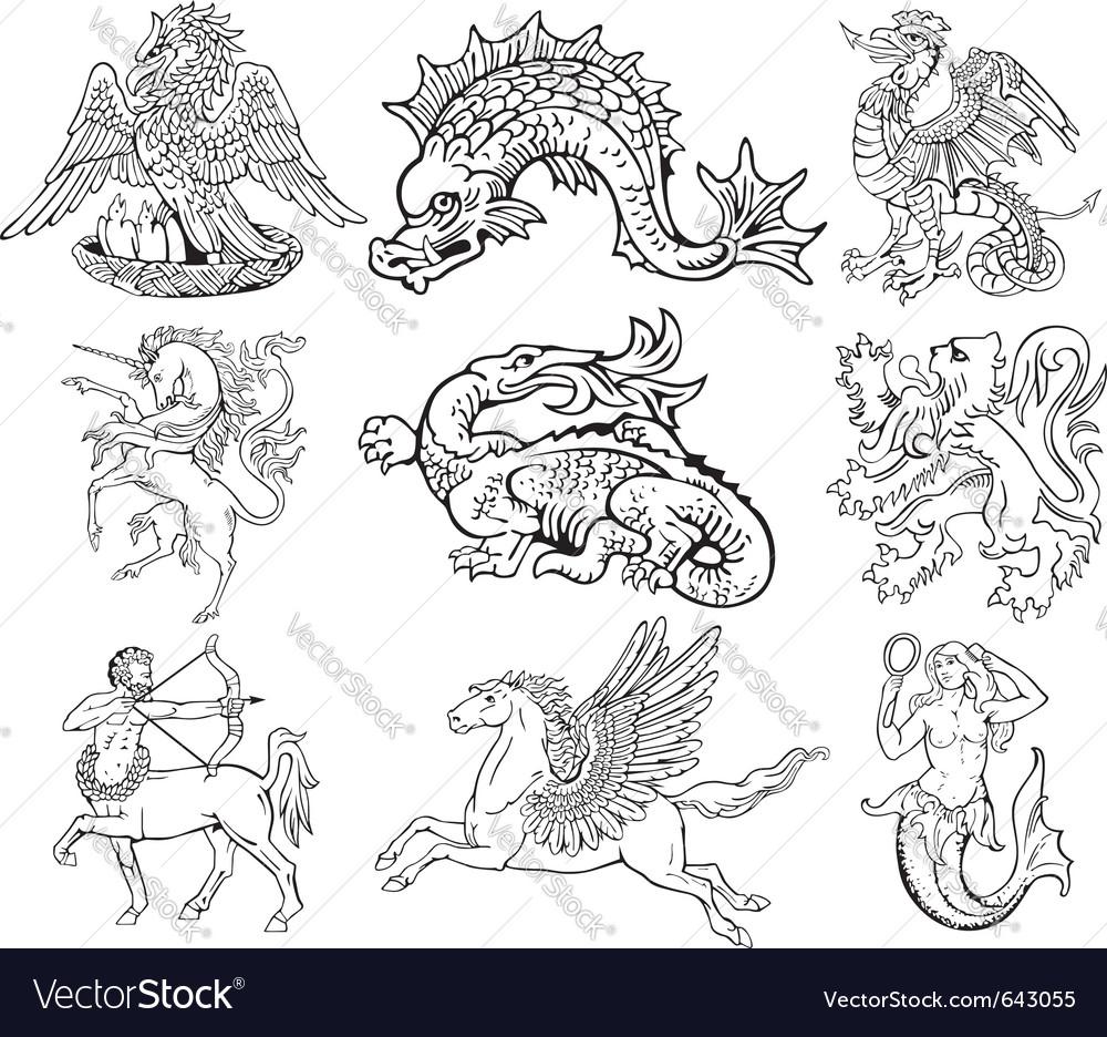 Heraldic monsters vector