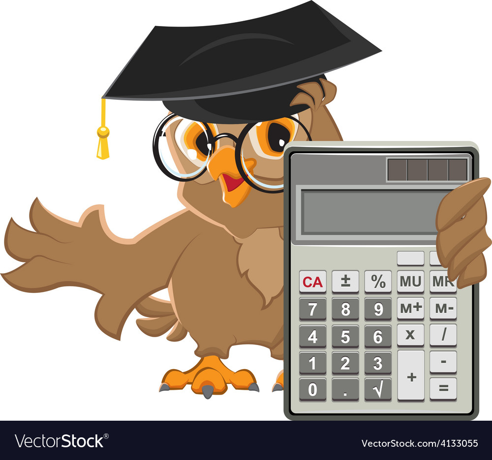 Owl teacher holding calculator vector