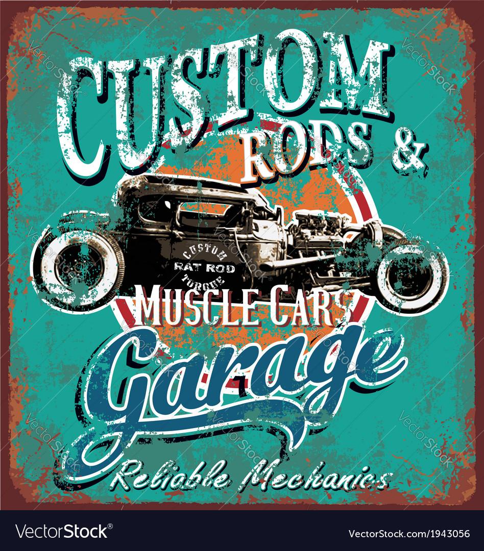 Rusty hot rod garage vector