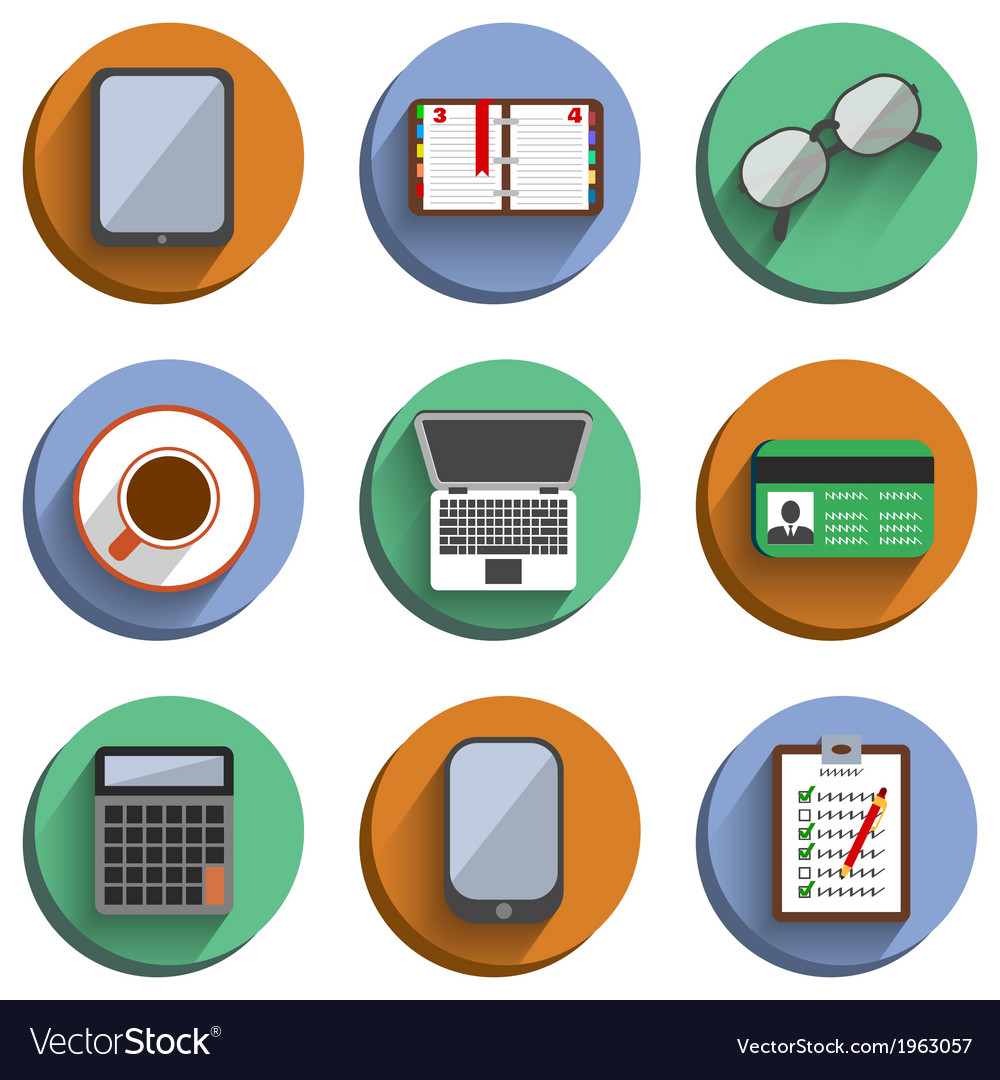 Business set workplace icons vector