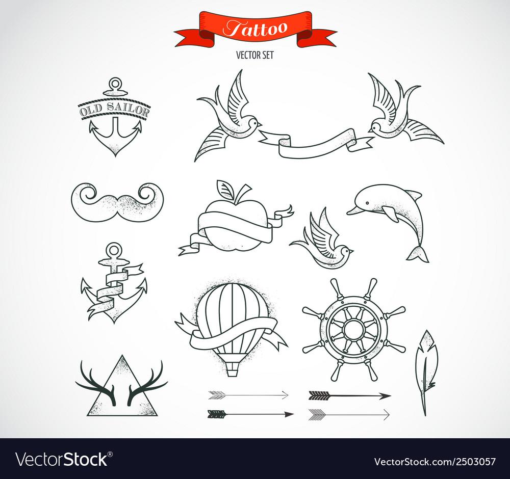 Set of modern tattoo art vector