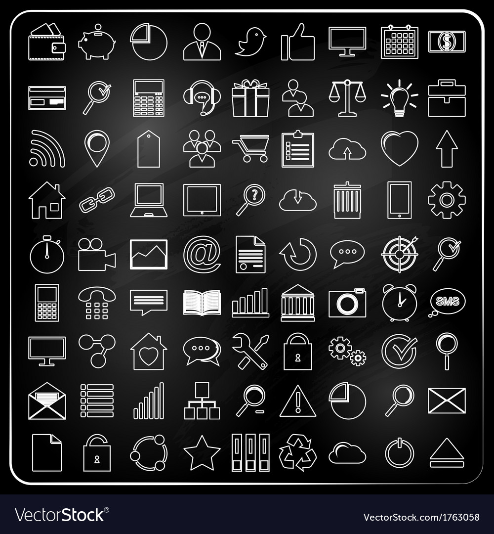 Universal icons in chalk doodle style vector