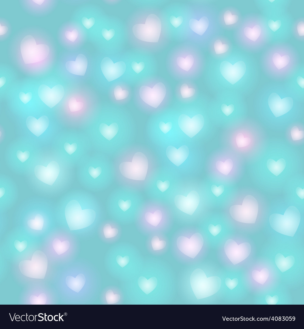 Abstract seamless pattern with hearts on blue vector