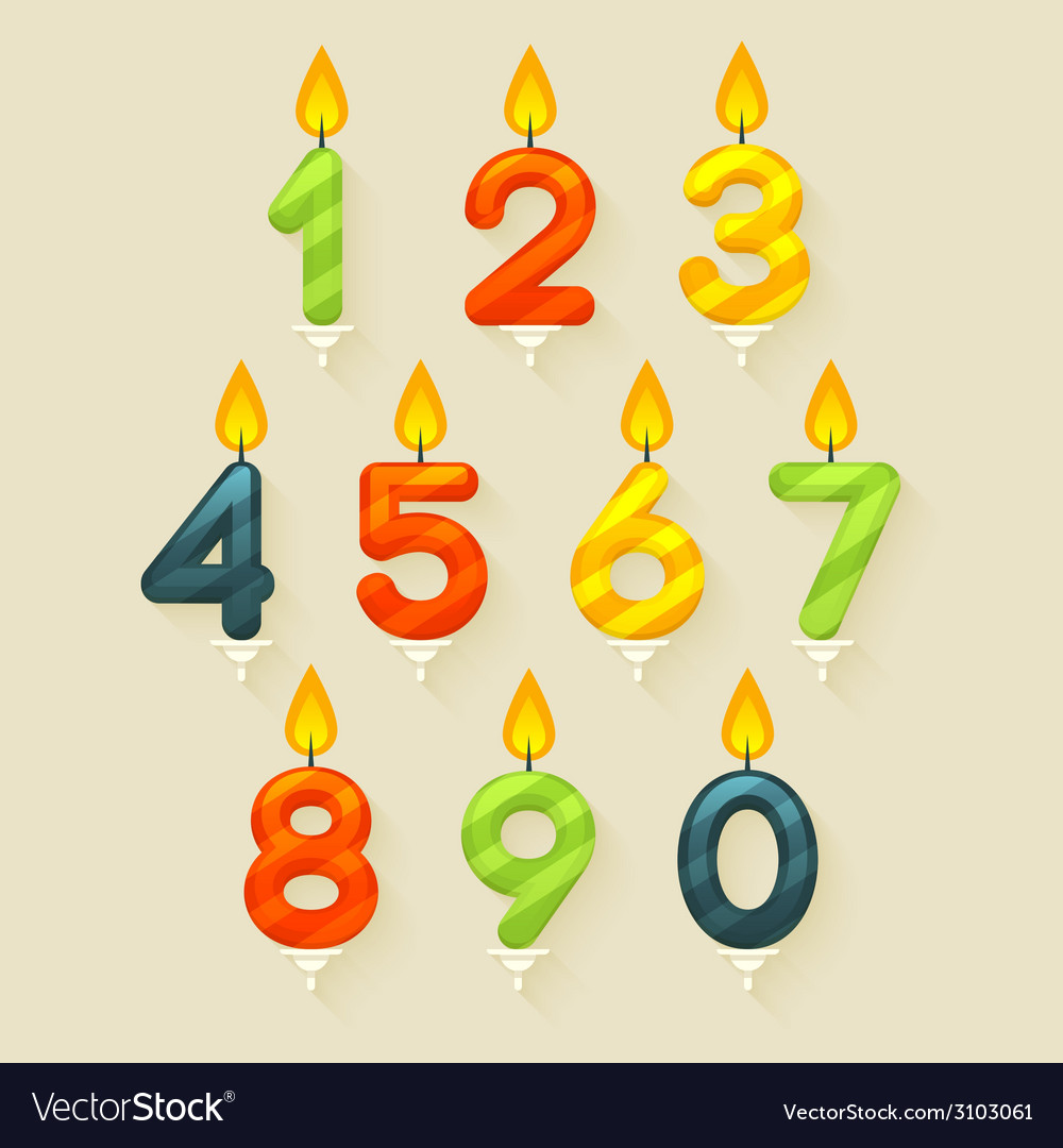 Set of colored glossy birthday cake candles vector