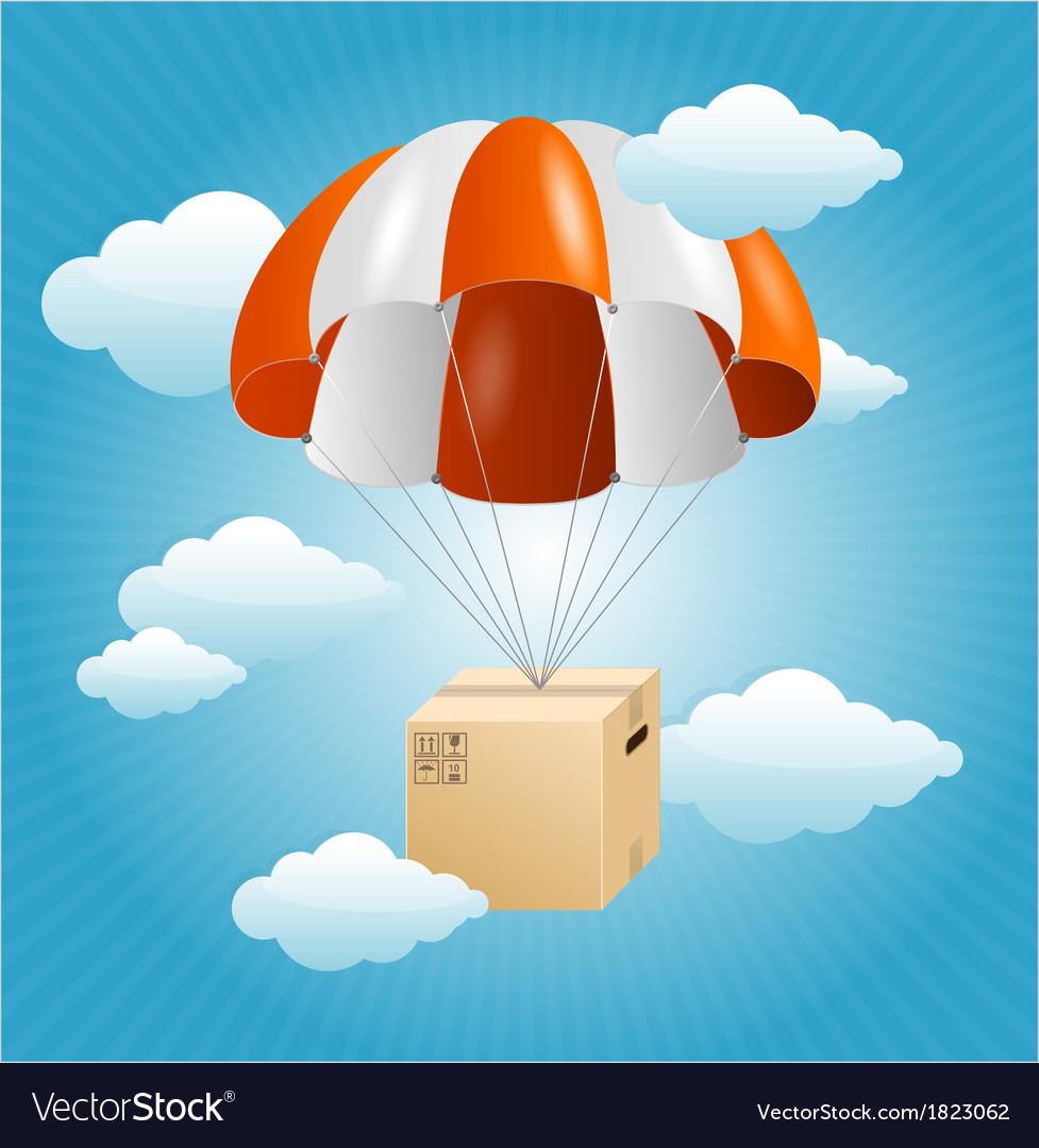 Parachute background air shipping concept vector