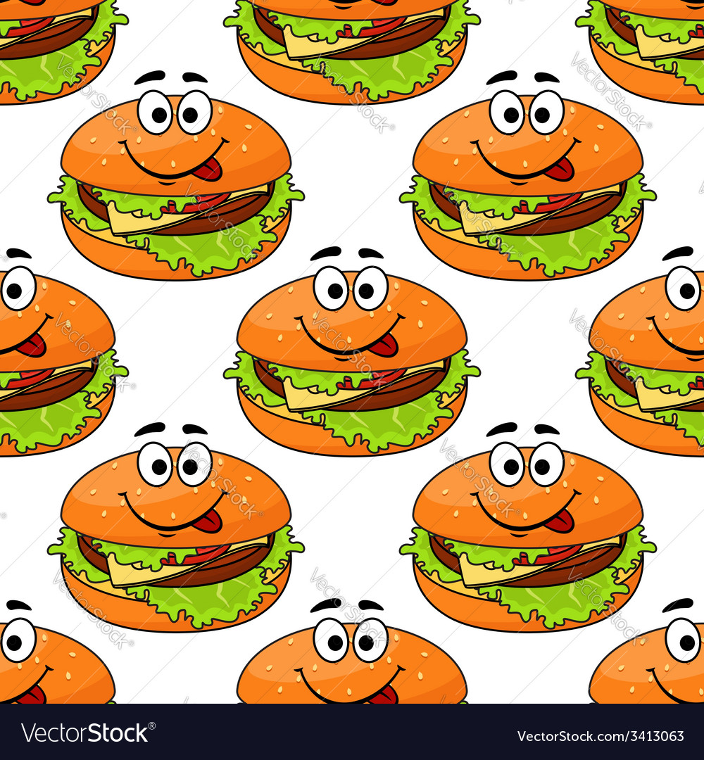 Cartoon cheeseburger seamless pattern vector