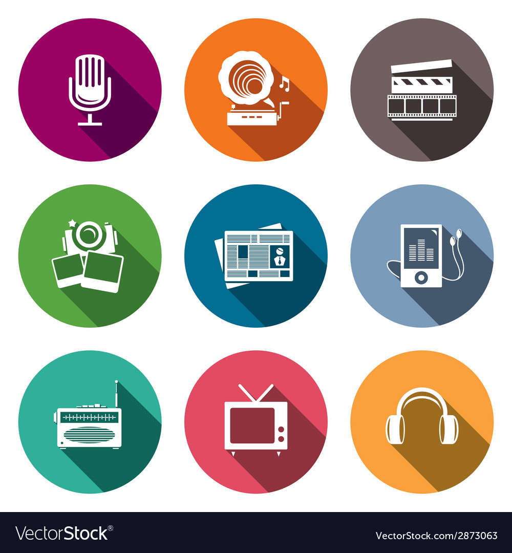 Media flat icon set - video news music tv vector