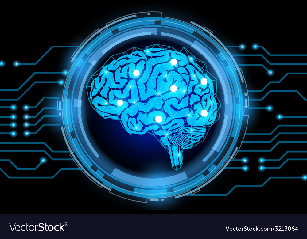 Brain with electric cycle vector