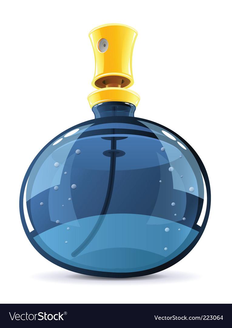 Perfume in glass bottle vector